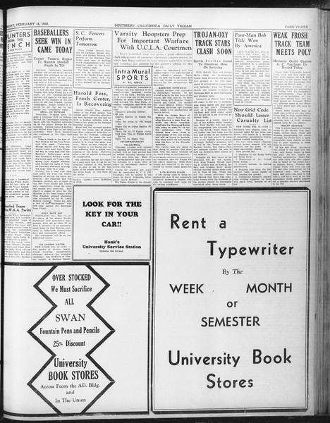 Daily Trojan, Vol. 23, No. 89, February 16, 1932