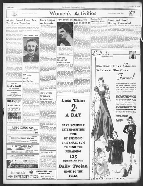 Daily Trojan, Vol. 29, No. 28, October 26, 1937