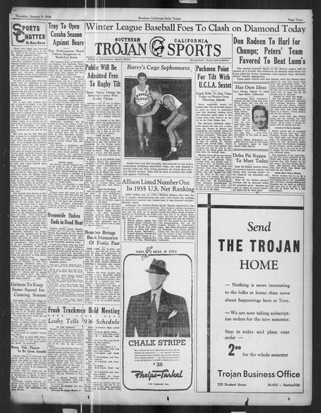 Daily Trojan, Vol. 27, No. 61, January 09, 1936
