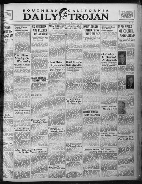 Daily Trojan, Vol. 22, No. 27, October 20, 1930