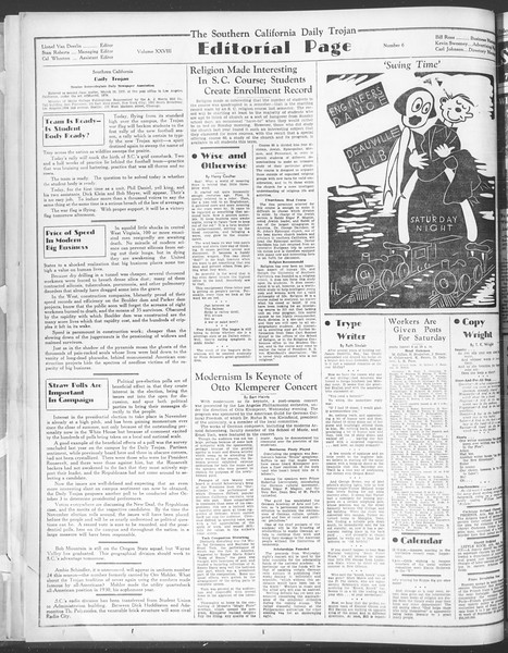 Daily Trojan, Vol. 28, No. 6, September 25, 1936