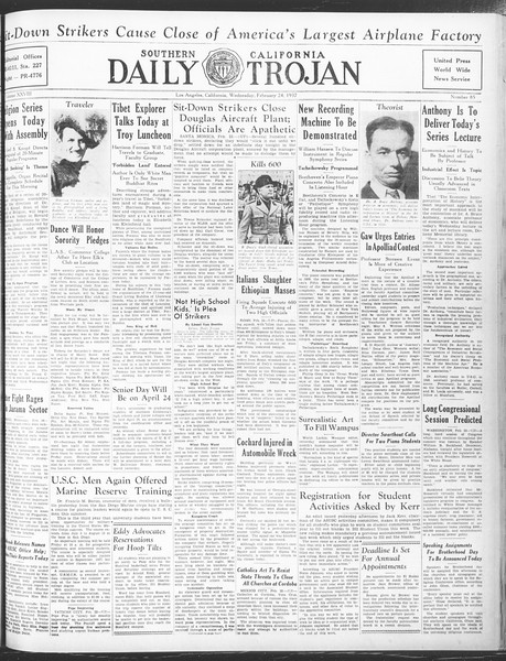 Daily Trojan, Vol. 28, No. 85, February 24, 1937