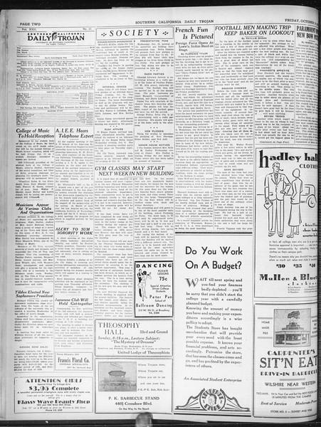 Daily Trojan, Vol. 22, No. 21, October 10, 1930