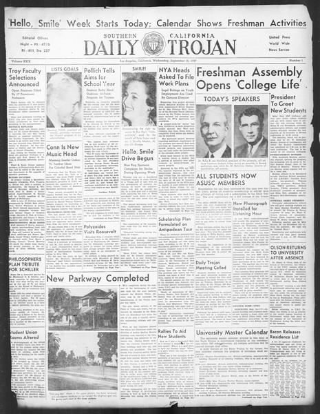 Daily Trojan, Vol. 29, No. 1, September 15, 1937