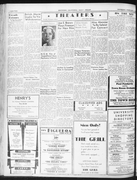 Daily Trojan, Vol. 23, No. 86, February 11, 1932