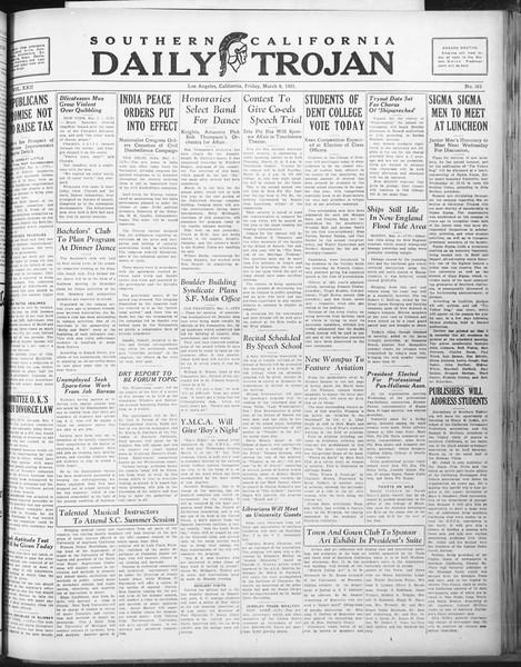 Daily Trojan, Vol. 22, No. 101, March 06, 1931