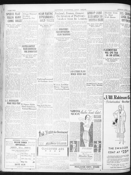Daily Trojan, Vol. 23, No. 117, April 04, 1932