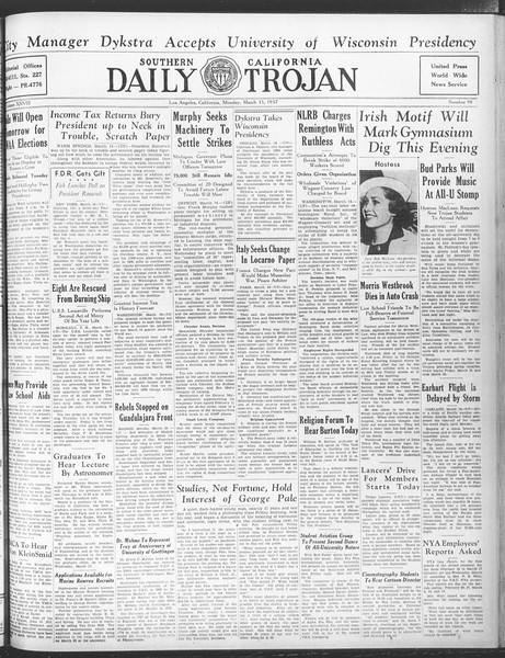 Daily Trojan, Vol. 28, No. 98, March 15, 1937