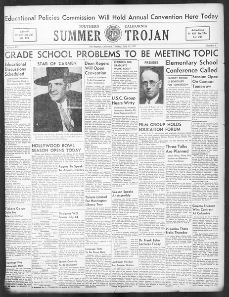 Summer Trojan, Vol. 16, No. 6, July 13, 1937