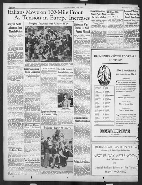 Daily Trojan, Vol. 27, No. 31, November 04, 1935