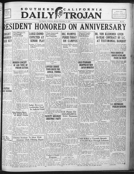 Daily Trojan, Vol. 23, No. 63, December 14, 1931