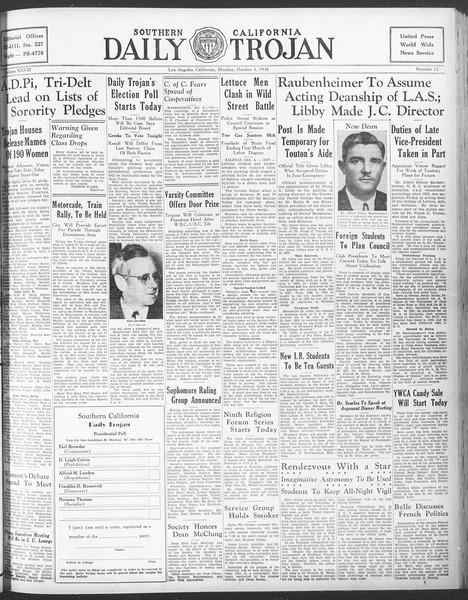 Daily Trojan, Vol. 28, No. 12, October 05, 1936