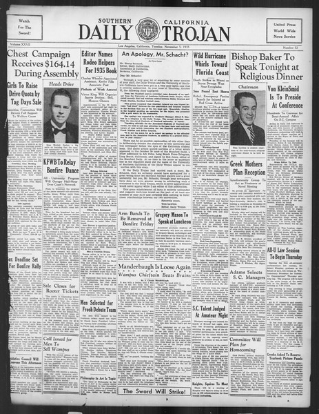 Daily Trojan, Vol. 27, No. 32, November 05, 1935