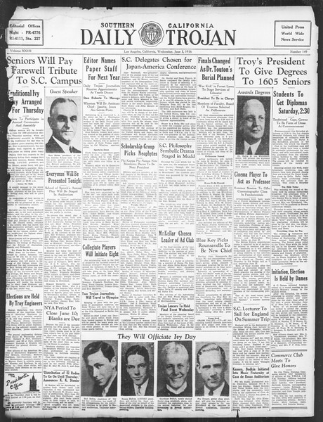 Daily Trojan, Vol. 27, No. 149, June 03, 1936