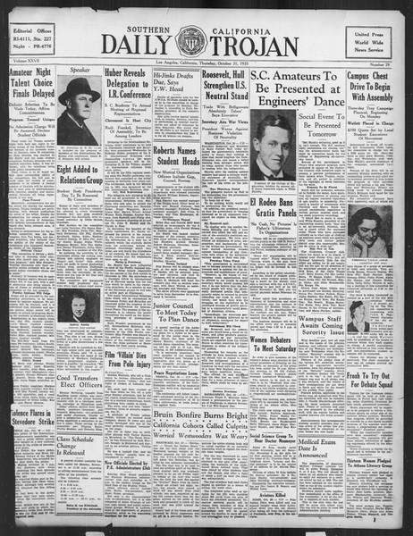 Daily Trojan, Vol. 27, No. 29, October 31, 1935