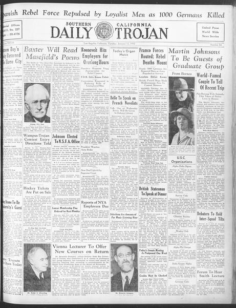 Daily Trojan, Vol. 28, No. 64, January 12, 1937