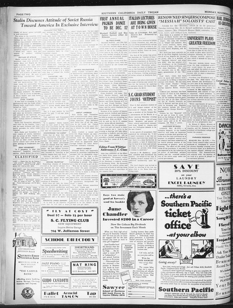 Daily Trojan, Vol. 22, No. 51, November 24, 1930