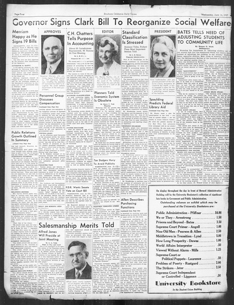 Southern California Daily Trojan: U.S.C. Institute of Government, Vol. 4, No. 2, June 16, 1937