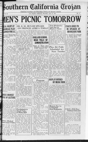 Southern California Trojan, Vol. 10, No. 8, July 16, 1931