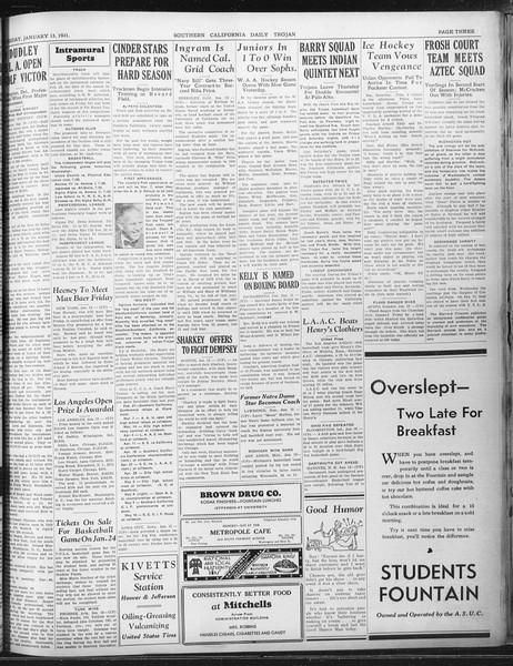Daily Trojan, Vol. 22, No. 72, January 13, 1931