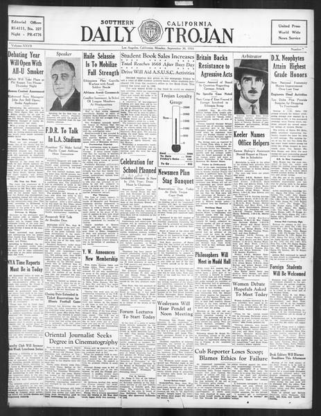 Daily Trojan, Vol. 27, No. 7, September 30, 1935