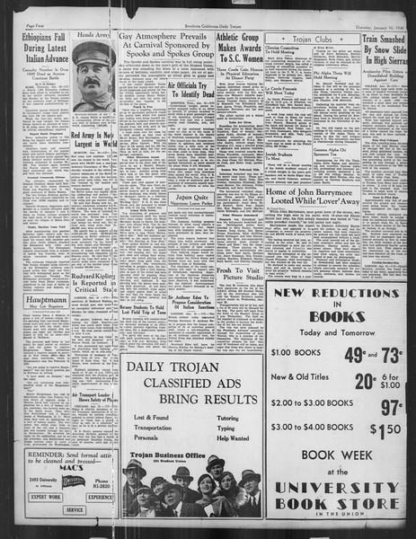 Daily Trojan, Vol. 27, No. 66, January 16, 1936