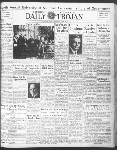 Southern California Daily Trojan: U.S.C. Institute of Government, Vol. 3, No. 2, June 17, 1936