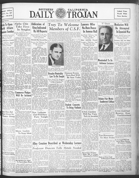 Daily Trojan, Vol. 28, No. 56, December 10, 1936