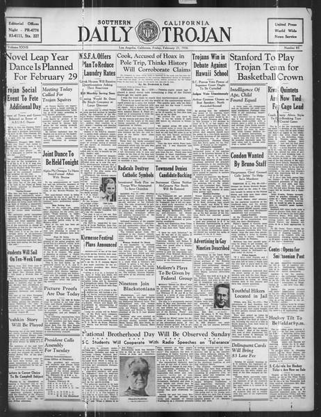 Daily Trojan, Vol. 27, No. 83, February 21, 1936