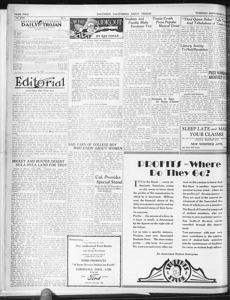 Daily Trojan, Vol. 22, No. 8, September 23, 1930