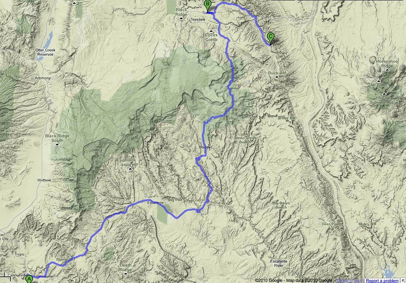 Map: Kodachrome Basin to Capitol Reef