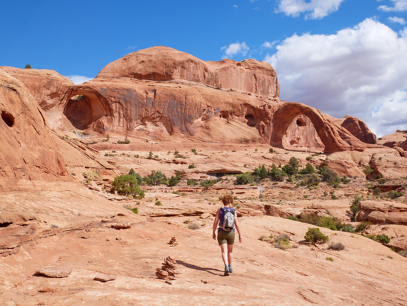Continuing south after picking up melons in Green River- we did the short and very popular hike into Corona Arch near Moab.