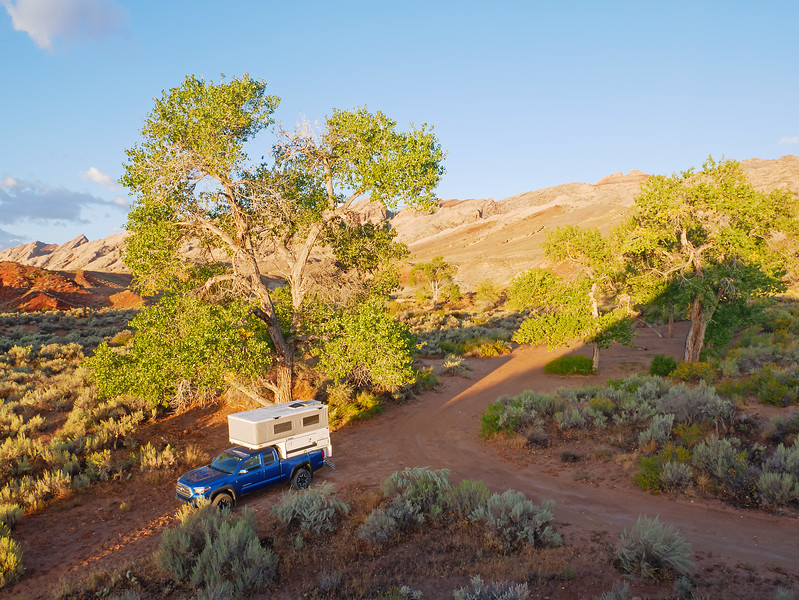 So great to be back in the Utah desert. Waking up to sun on September 29 at our usual first night camp spot, near Black Dragon below the San Rafael Swell.