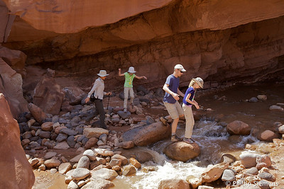 Sulfur Creek route in Capitol Reef. Why are we trying to keep our boots dry?