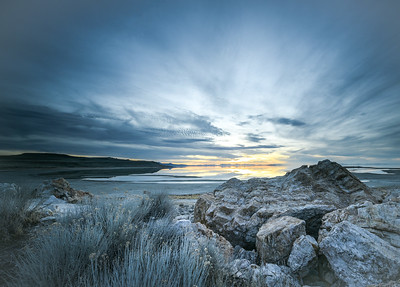 Bridger Bay early sunset - Antelope Island State Park