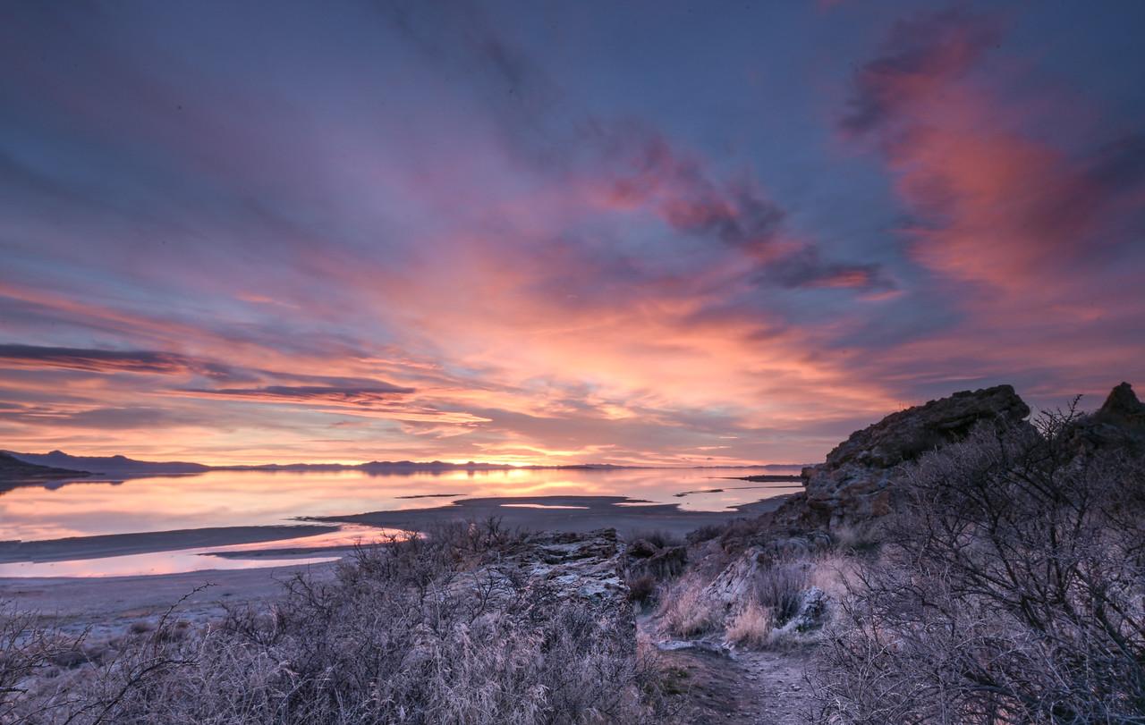 Sunset path to Bridger Bay - Antelope Island State Park