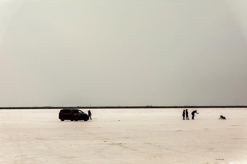 Family On Bonneville Salt Flats