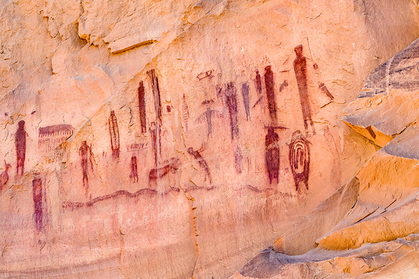 High Gallery Panel, Pictographs and Petroglyphs, Barrier Canyon, Canyonlands National Park, Utah