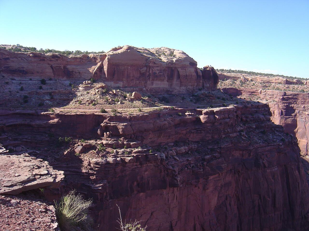 White Rim road along edge of canyon.