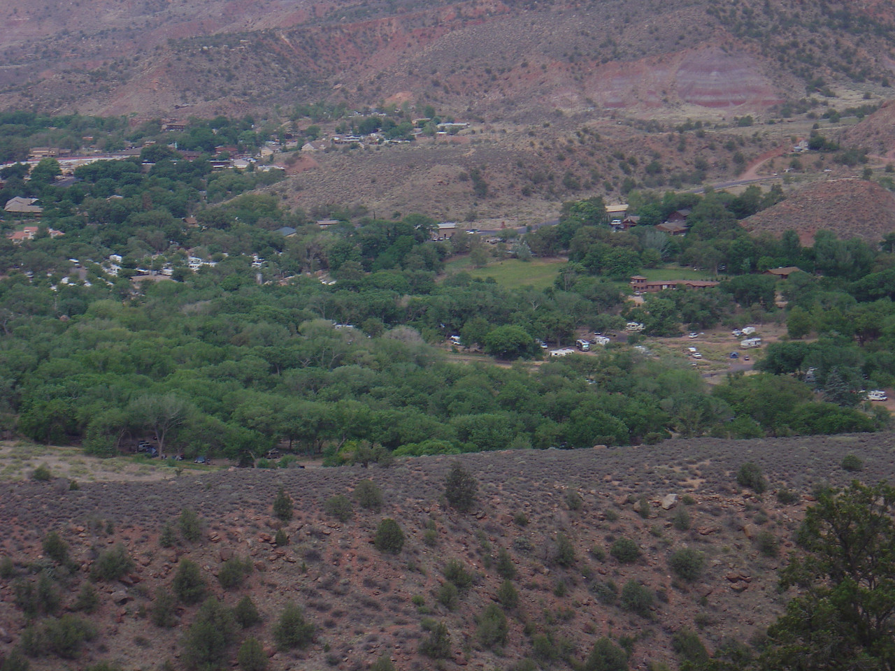 VIew of the camp ground from the Watchman's trail.