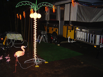 "I did win the award for the best decorated site... although there wasn't much competition as most campers did not put up tacky ligths.  Of course every one wanted to know ""When is Happy Hour?"""
