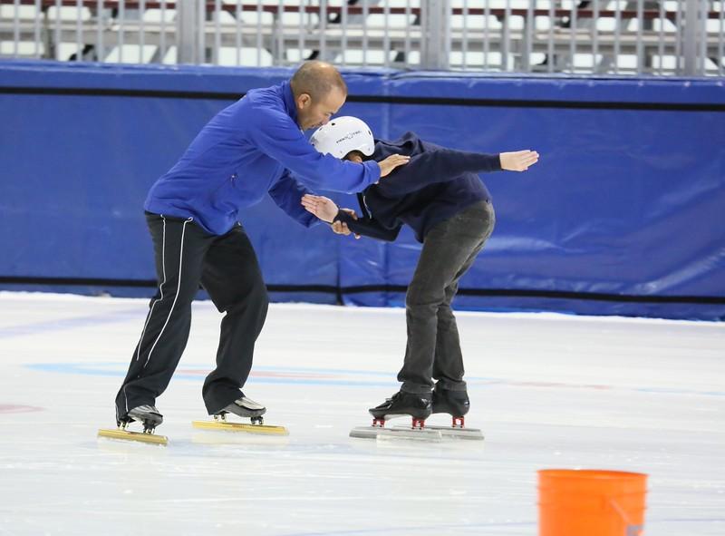 Derek Parra Instructing Learn to Speed Skate