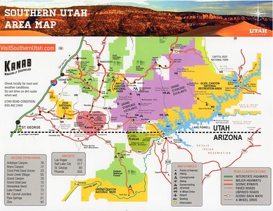 Area map showing the proximity to various cities and attractions from Kanab, Utah.