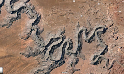 Google Maps satellite view of Goosenecks State Park in Utah, located northwest of Mexican Hat, Utah.