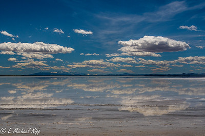 Bonneville Salt Flat, Great Salt Lake, Utah  (I-80 on distant shore)
