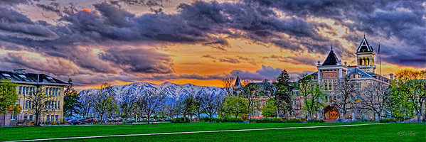 USU quad sunset pano