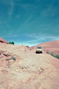 Bill Marquardt's jeep on slickrock.