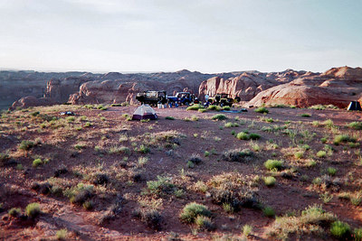 Hole in the Rock, Mormon Expedition Trail, Utah, May 1, 2001. Our second night's camp.  From here you can see the Cottonwood Canyon (and, if Lake Powell had been very full, probably could have see it from here).  Nice view, though.