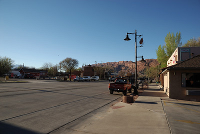 And, of course, we were in Moab, Utah, so the scenery from our motel was nice.  Right across the street (on the left side of the photo below) is the Wicked Brew drive up java stop.  Great cup of java.