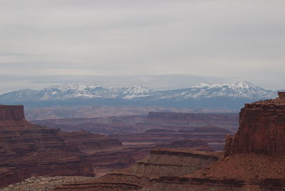 View of the distant La Sal mountains (zoomed in).  Yeah, I'll be back some time when the weather was nicer.